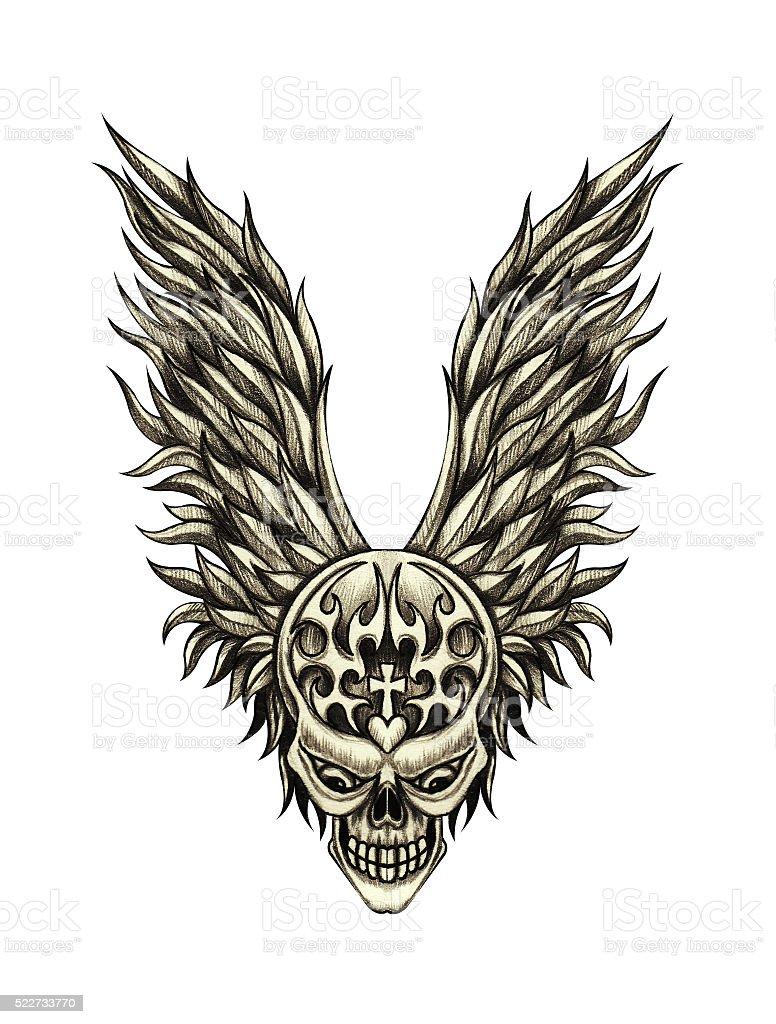 Sztuka Tatuaż Czaszka Skrzydła Anioła Stockowe Grafiki