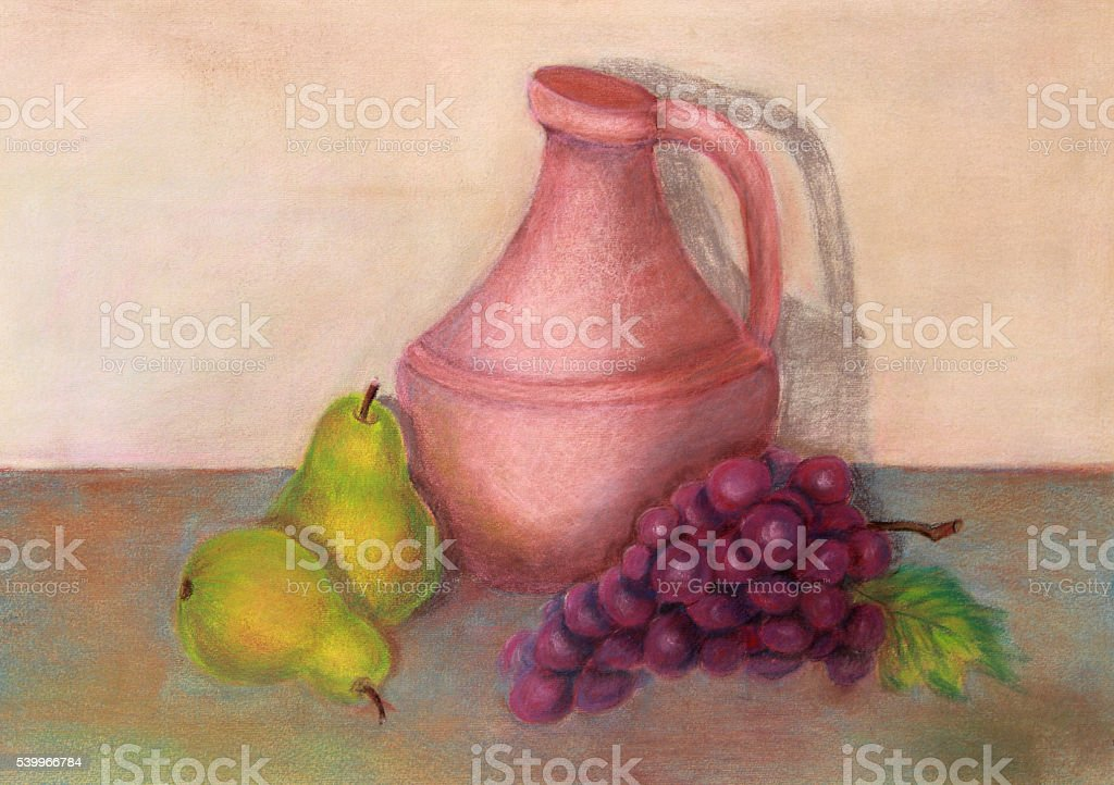 Art: Still life painting pitcher with pears and grapes vector art illustration
