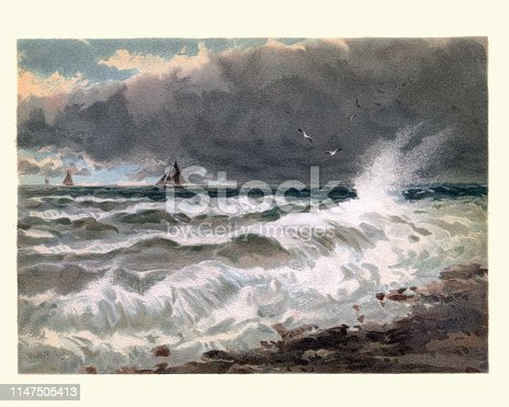 Vintage painting of Study of sea on the French coast, 19th Century, by Walter William May