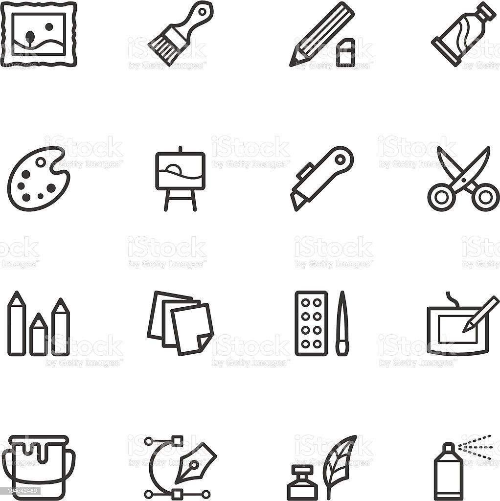 Art Supply Icons vector art illustration