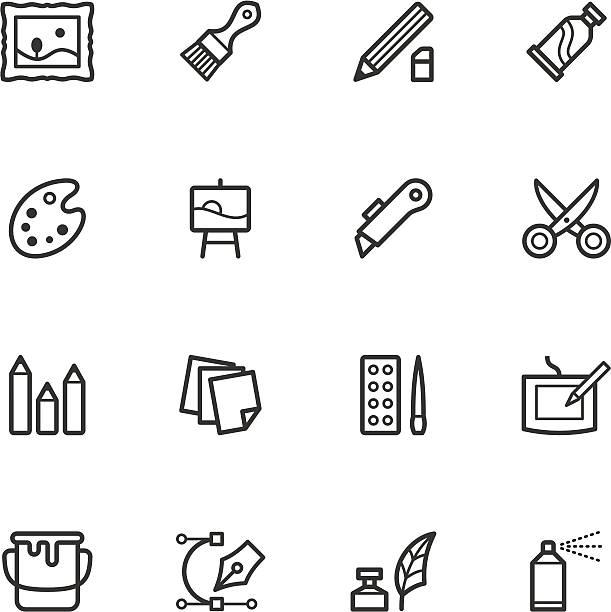 Art Supply Icons  utility knife stock illustrations