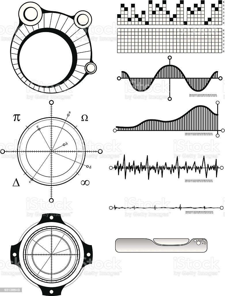 Art - Technical Design Elements 1 vector art illustration