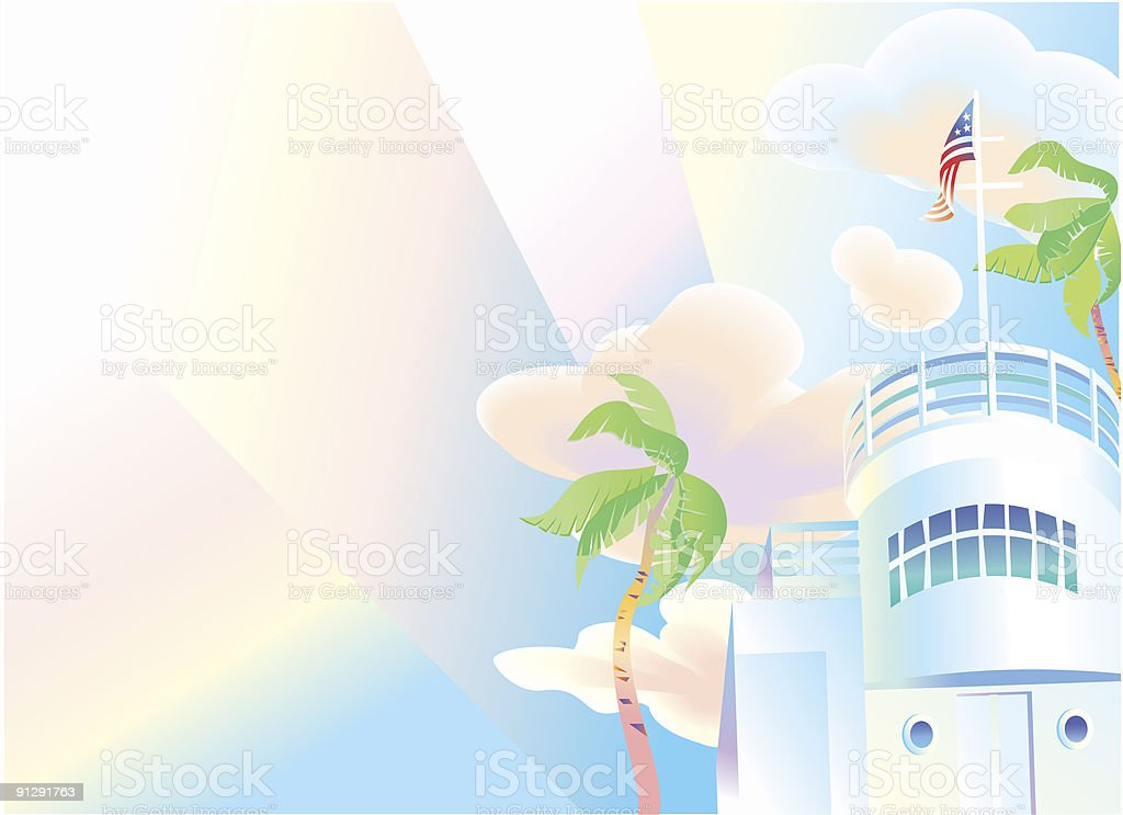 Art-Deco era Miami Villa Er Building vector art illustration