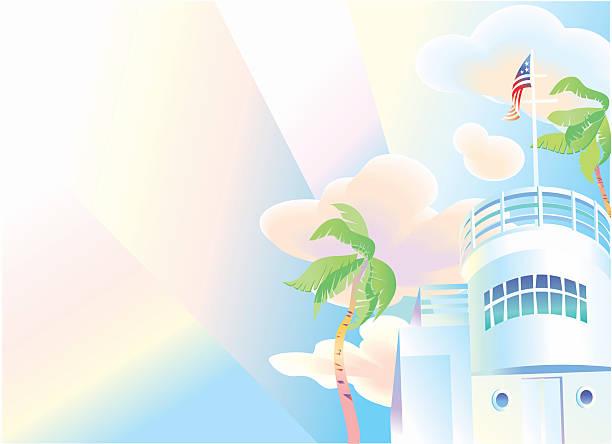 Art-Deco era Miami Villa Er Building  art deco district miami stock illustrations