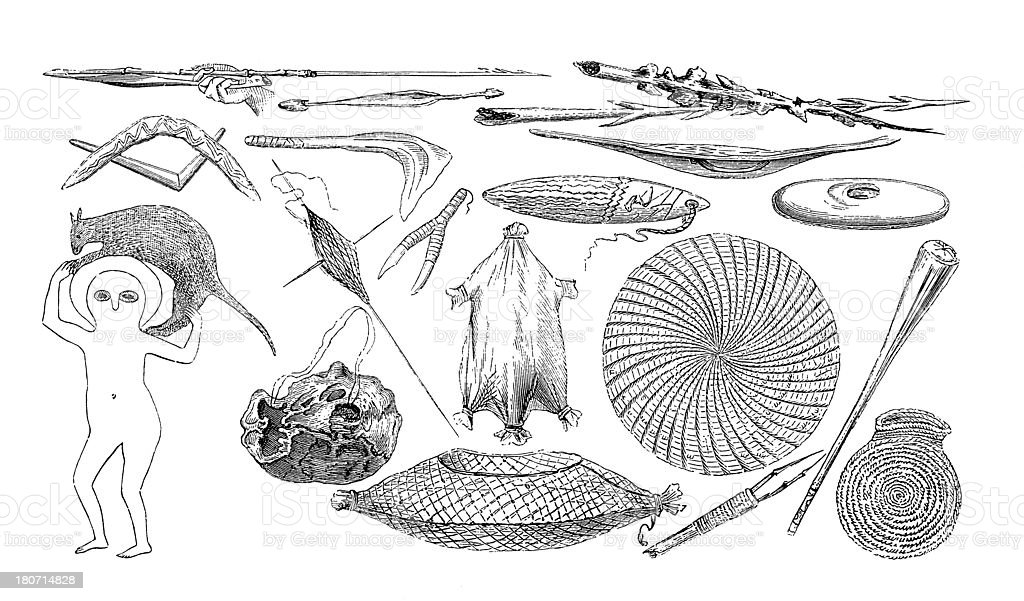 Artefacts of Australian Aborigines (antique wood engravings) vector art illustration