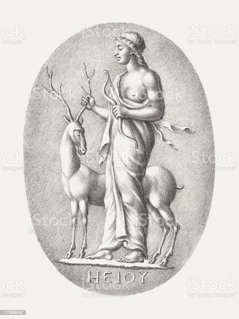 Artemis, lithograph, published c. 1830 royalty-free stock vector art