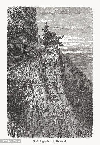 istock Arth–Rigi Railway, Switzerland, wood engraving, published in 1893 1224802604