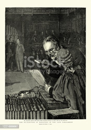 istock Arthur Balfour taking the oath, House of Commons, 1895 1221686661