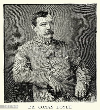 Vintage engraving of Arthur Conan Doyle, British writer and medical doctor. He created the character Sherlock Holmes in 1887