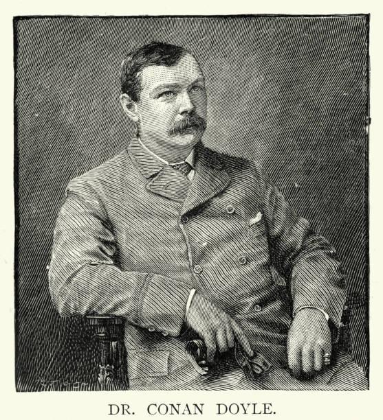 Arthur Conan Doyle, British writer, creator of Sherlock Holmes vector art illustration