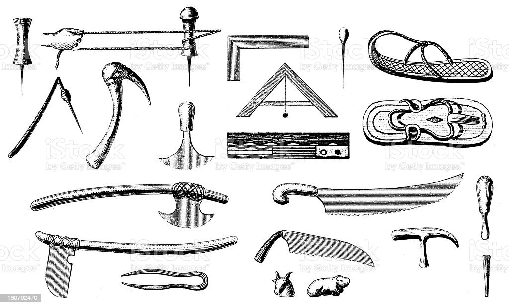 Artifacts from Ancient Egypt (antique wood engraving) vector art illustration