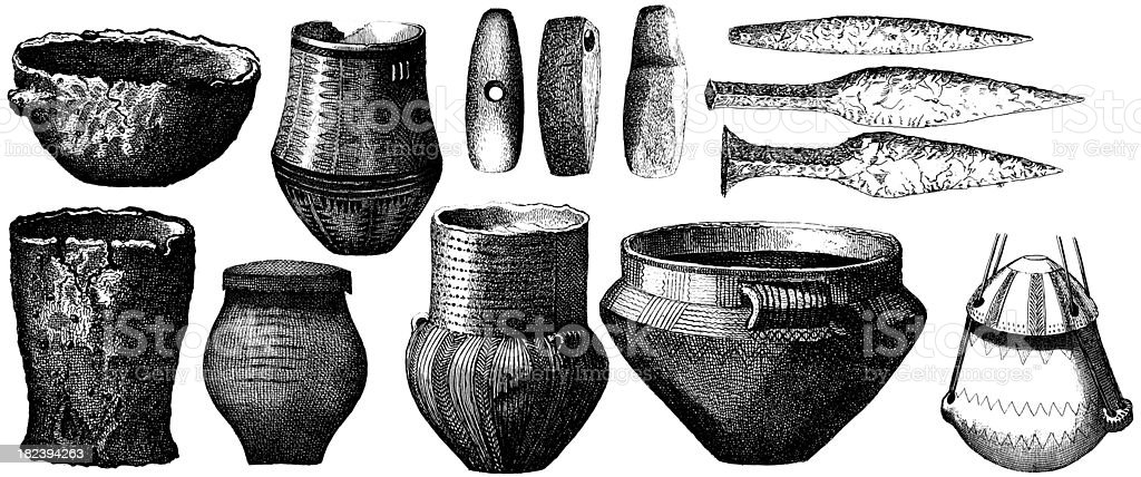 Artifacts from Stone and Ice Age | Antique Historic Illustrations vector art illustration