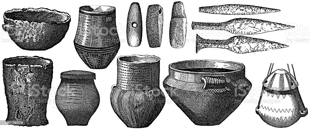 Artifacts from Stone and Ice Age (antique wood engraving) vector art illustration