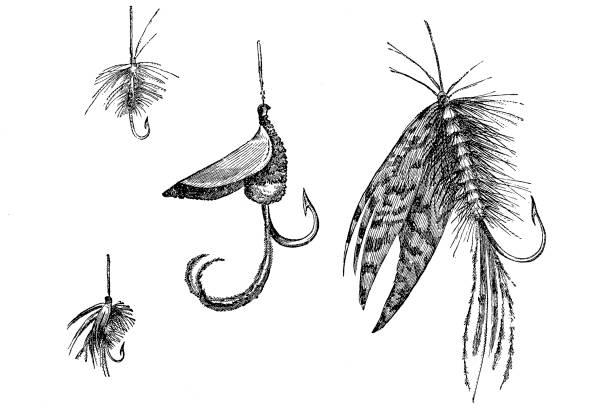 Artificial fishing lures set vector art illustration