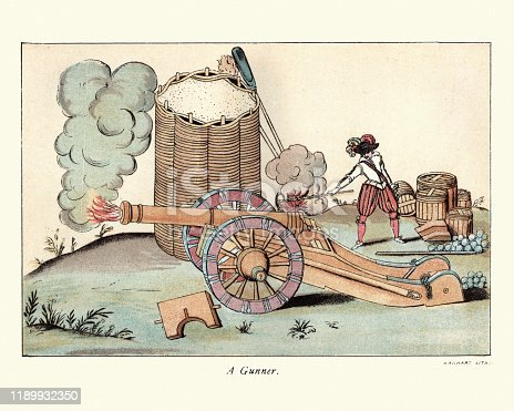 Vintage engraving of a Artillery gunner firing a cannon, barricade made from Wicker and sand, 17th Century, English Civil War