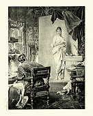 Vintage engraving of Artist and model, by Gustav kuntz, Victorian, 19th Century