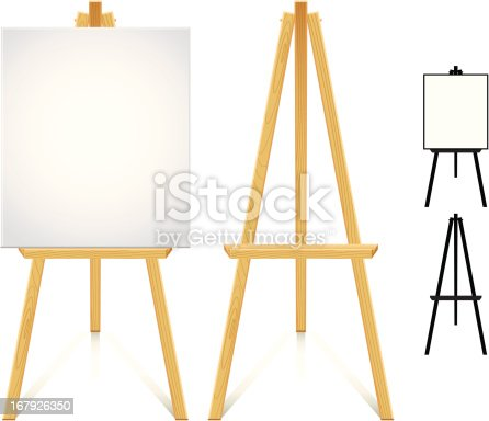 Wood easel. Color and silhouette version.