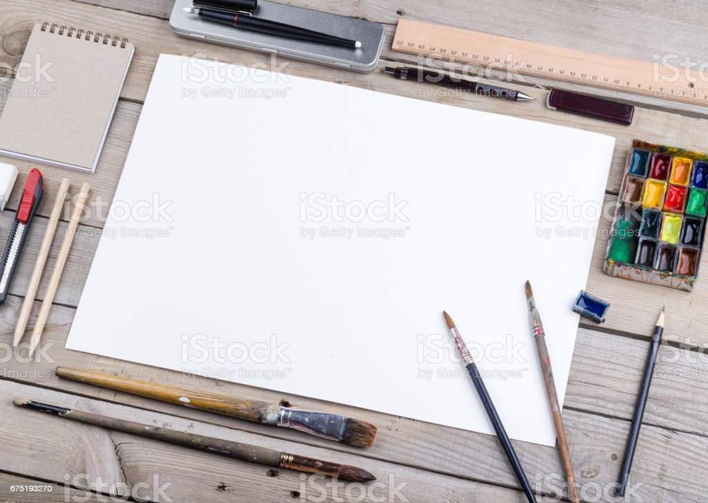 Artist, illustrator or calligrapher workplace vector art illustration