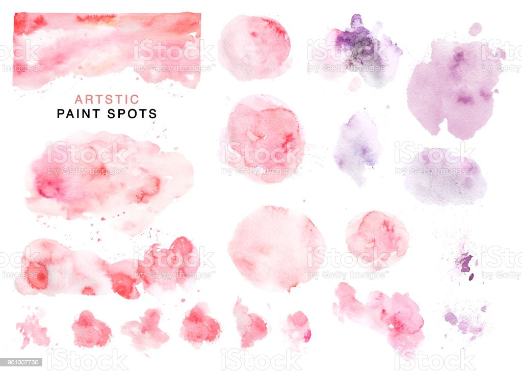 Artistic collection of hand drawn watercolor pink and violet spots, paint drops and backdrops isolated on white background. Good for Valentine day cards, wedding invitation and decorations, banners, etc vector art illustration
