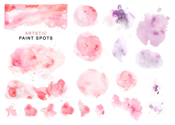illustrazioni stock, clip art, cartoni animati e icone di tendenza di artistic collection of hand drawn watercolor pink and violet spots, paint drops and backdrops isolated on white background. good for valentine day cards, wedding invitation and decorations, banners, etc - acquerello