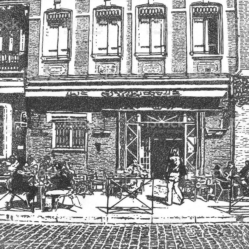 Artistique dessin d'une french street cafe artistique dessin dune french street cafe – vecteurs libres de droits et plus d'images de activités de week-end libre de droits