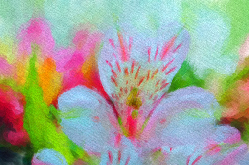 Artistic illustration of flowers in paints on canvas close-up.