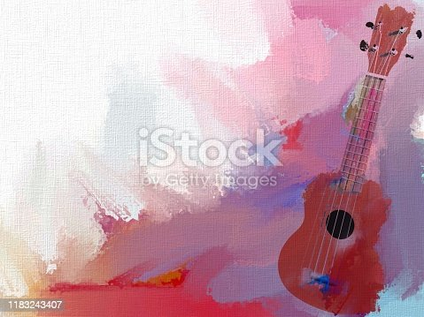 Artistic musical illustration - Ukulele on a canvas painted with paints.