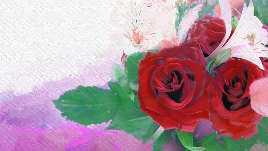 Artistic postcard illustration - Picturesque flowers on canvas.