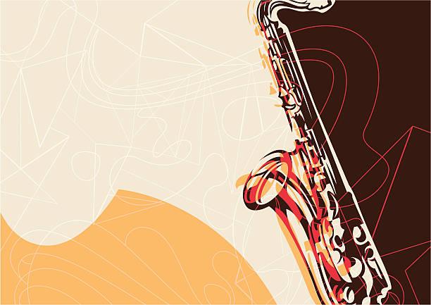 ilustrações de stock, clip art, desenhos animados e ícones de artístico poster com saxofone. - saxofone