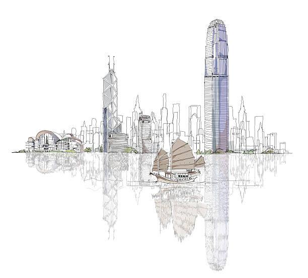 illustrazioni stock, clip art, cartoni animati e icone di tendenza di disegno artistico di hong kong bay - hong kong