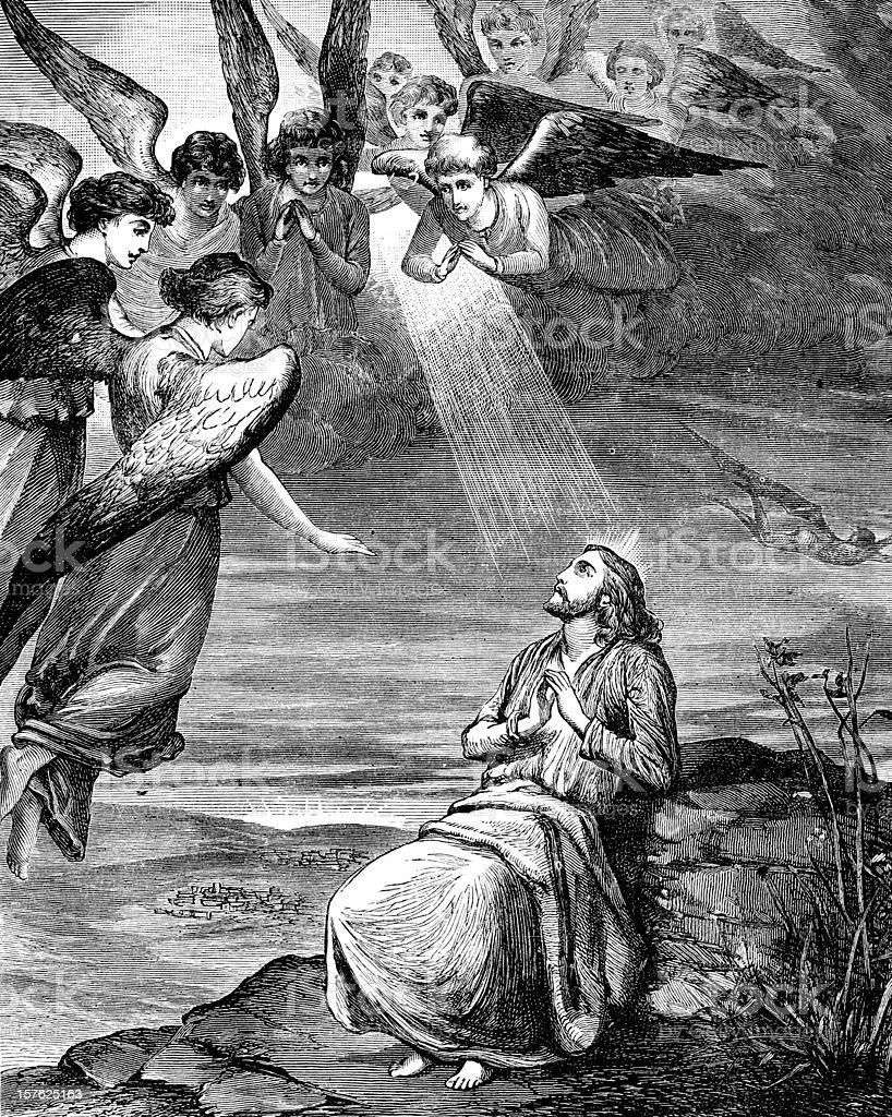 Artists impression of the temptation of Jesus Christ vector art illustration