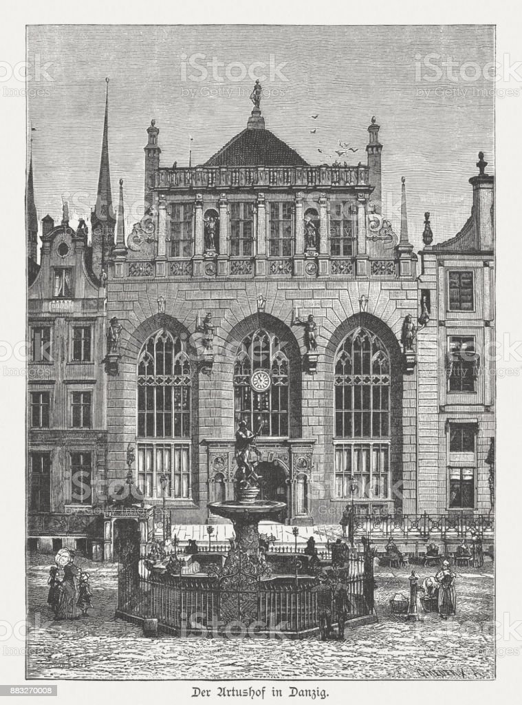 Artus Court in Gdansk (Danzig), wood engraving, published in 1884 vector art illustration
