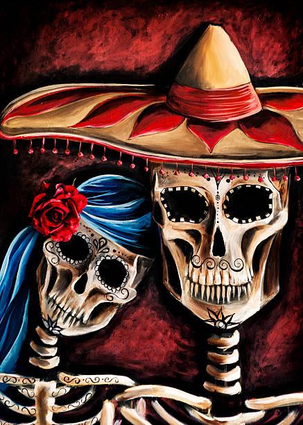 Artwork: Mexican Sugar Skull Painting vector art illustration