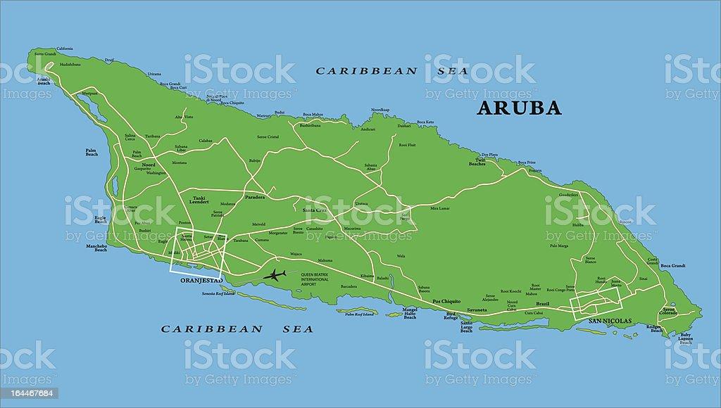 Aruba map vector art illustration
