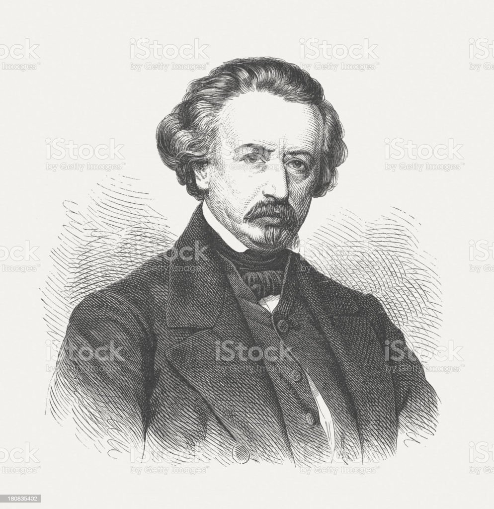 Ary Scheffer (1795-1858), French painter, wood engraving, published in 1882 royalty-free stock vector art