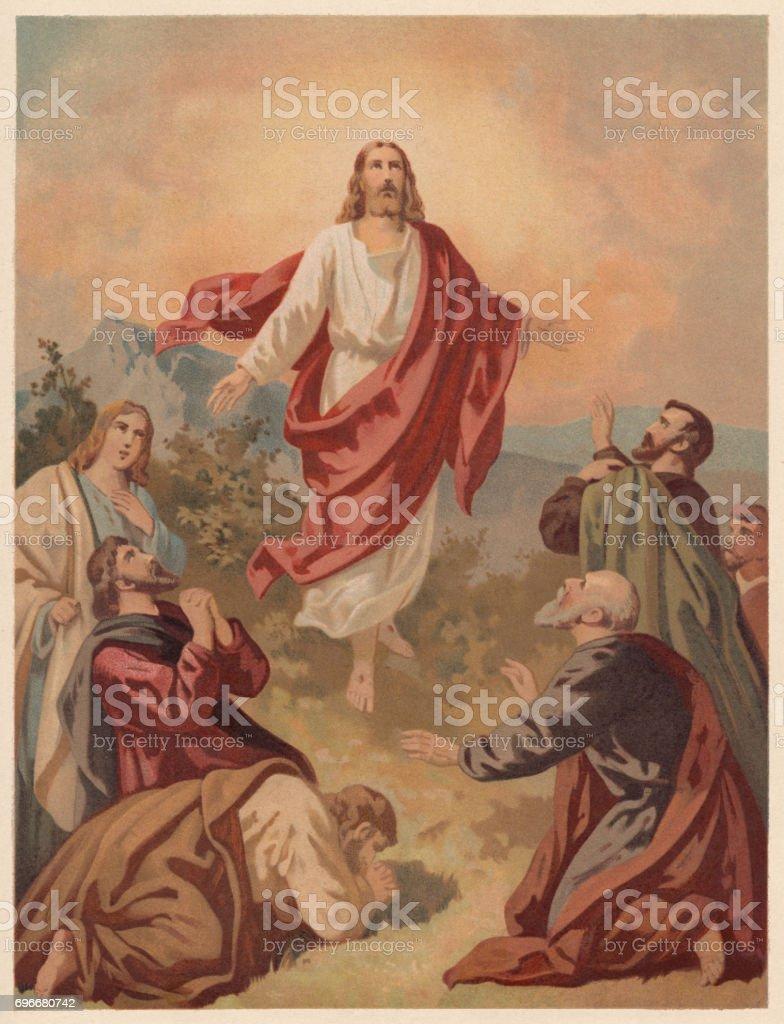Ascension of Christ (Luke 24, 51), chromolithograph, published in 1886 vector art illustration