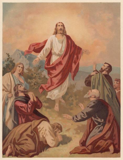 ilustrações de stock, clip art, desenhos animados e ícones de ascension of christ (luke 24, 51), chromolithograph, published in 1886 - jesus cristo