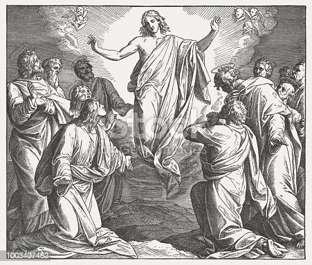 Ascension of Christ. Wood engraving after a drawing (ca. 1855/60) by Julius Schnorr von Carolsfeld (German painter, 1794 - 1872), published in 1890.