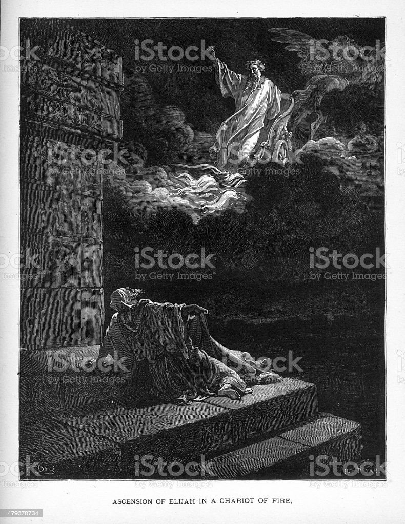 Ascension of Elijah in a Chariot of Fire Biblical Engraving vector art illustration