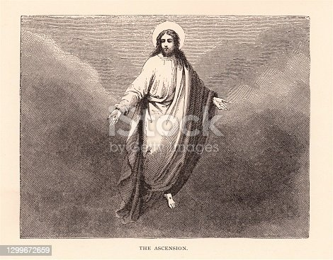 Jesus Christ ascending in a cloud to heaven. Illustration published in The Life of Christ by Louise Seymour Houghton (American Tract Society: New York) in 1890. Copyright expired; artwork is in Public Domain. Digitally restored.