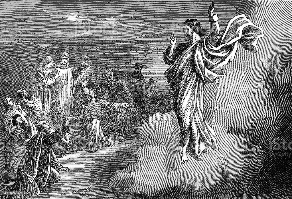 Ascension of Jesus Christ vector art illustration
