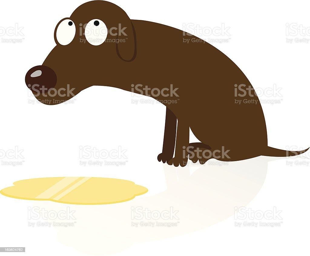 Ashamed Dog Peed vector art illustration