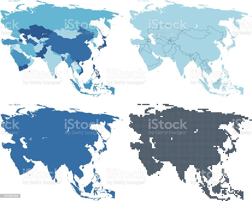 Asia four different blue maps vector art illustration