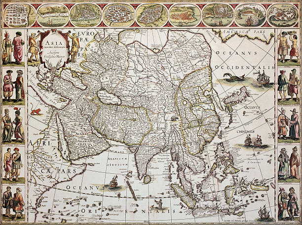 Asia old map Asia old map. Created by Willem Bleau, published in Amsterdam, ca. 1650 ancient stock illustrations