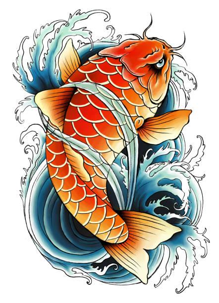 アジア鯉絵 - アジアのタトゥー点のイラスト素材/クリップアート素材/マンガ素材/アイコン素材