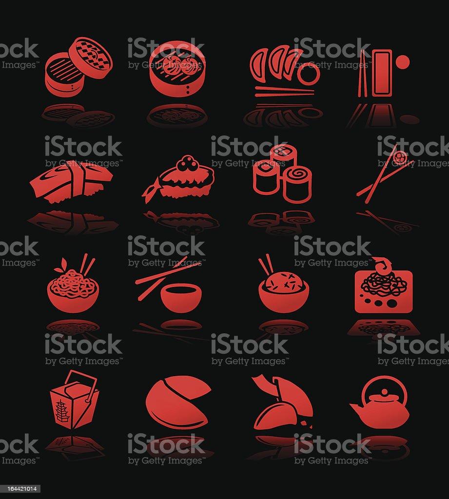 Culinária asiática ícones alto contraste - ilustração de arte em vetor