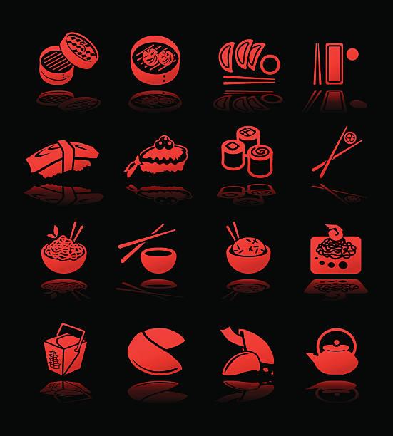 asian cuisine icons hi contrast - thai food stock illustrations, clip art, cartoons, & icons