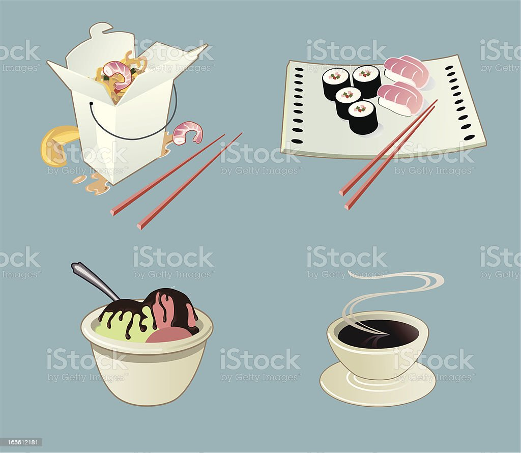Asian Food Icons royalty-free stock vector art
