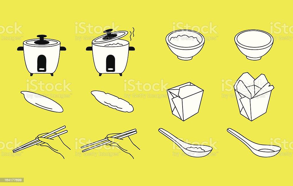 アジア料理とシンボル ベクターアートイラスト