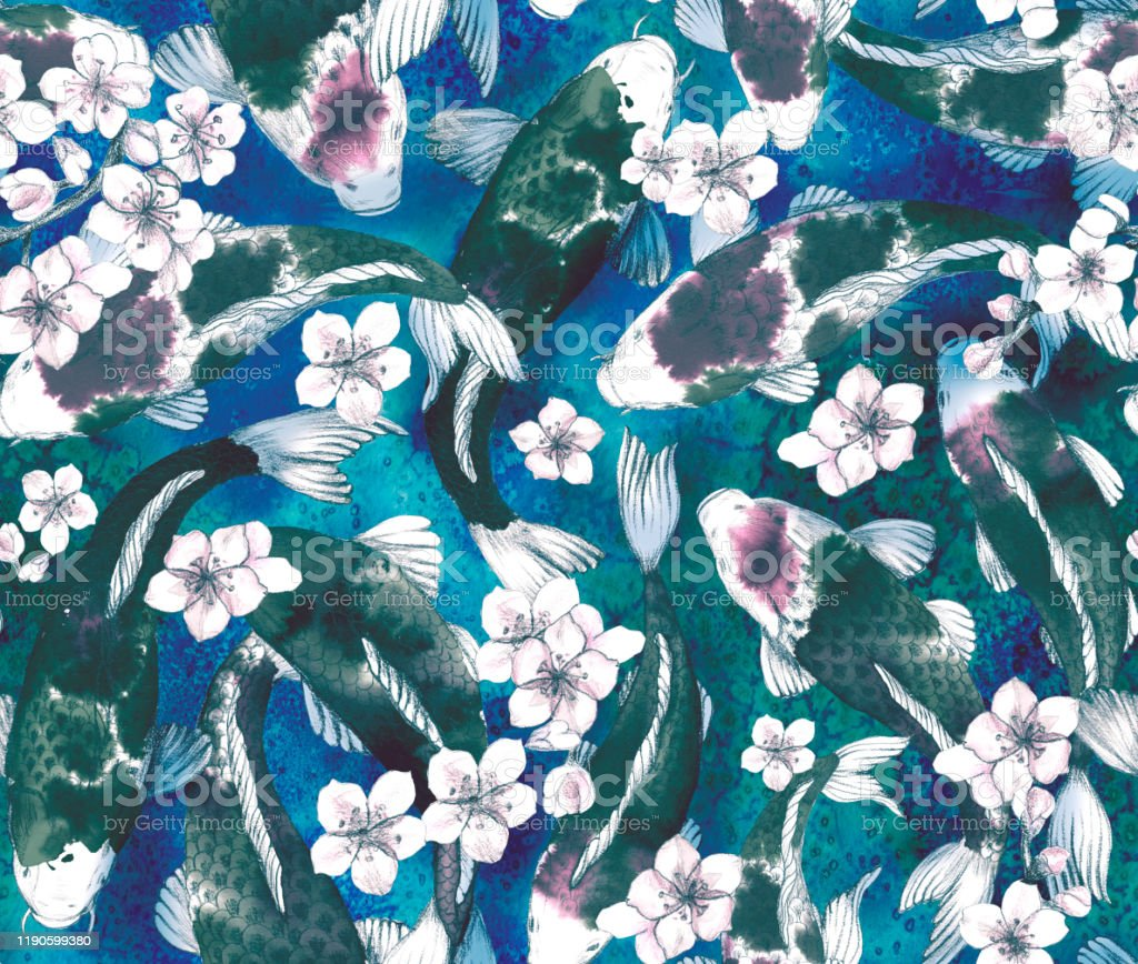 Asian Seamless Pattern With Japanese Carp Chinese Cherry Blossom Oriental Fans Japanese Lantern Painted Watercolor Illustration With Traditional Symbols Of Asia Stock Illustration Download Image Now Istock